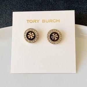 Tory Burch-black crystal logo earrings